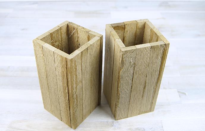 DIY Vasenüberzieher aus Stäbchenparkett | Variante in Holz