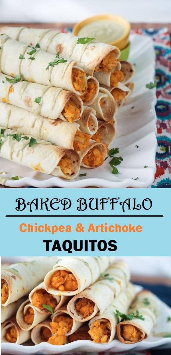 Buffalo Chickpea & Artichoke Baked Vegan Taquitos