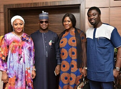 Mercy Johnson All Smiles as She Poses with Gov. Bello as New SSA of Kogi State