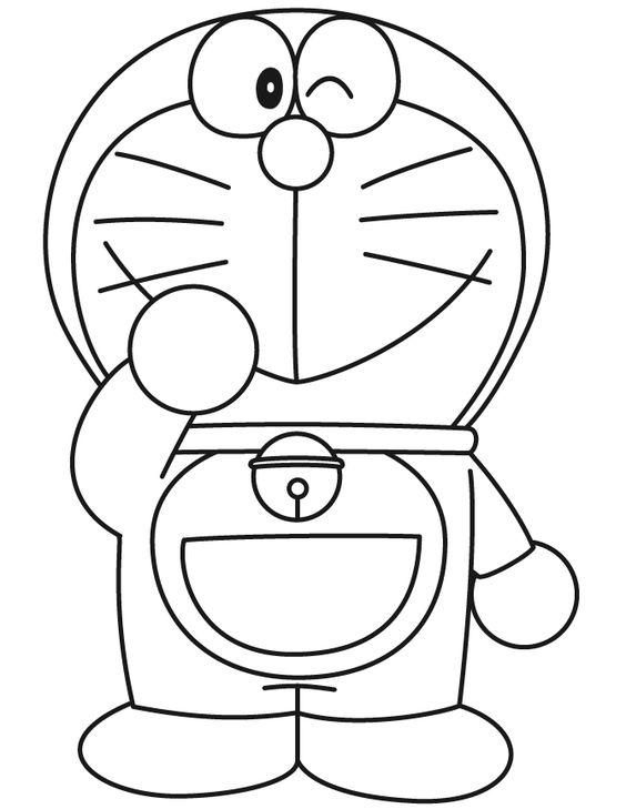 Tranh cho bé tô màu Doraemon tủm tỉm cười