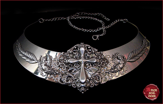 collier gothique croix argent anges gothic goth fashion bijouterie victorien romantique dark cross necklace