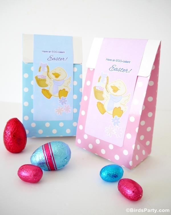 Free Pink & Blue Easter Party Favor Bag Labels - BirdsParty.com