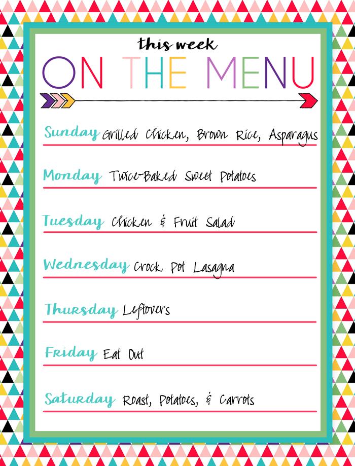 Priceless image in menu plan printable