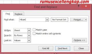 tampilan pengaturan options  find & replace