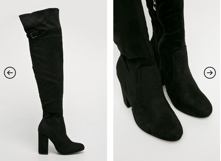 Answear - Cizme la moda inalte negre cu toc gros reducere
