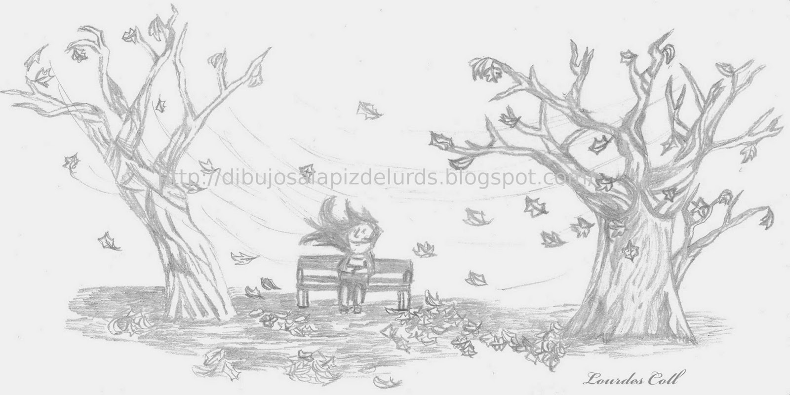 Mis dibujos a lpiz Paisaje de Otoo