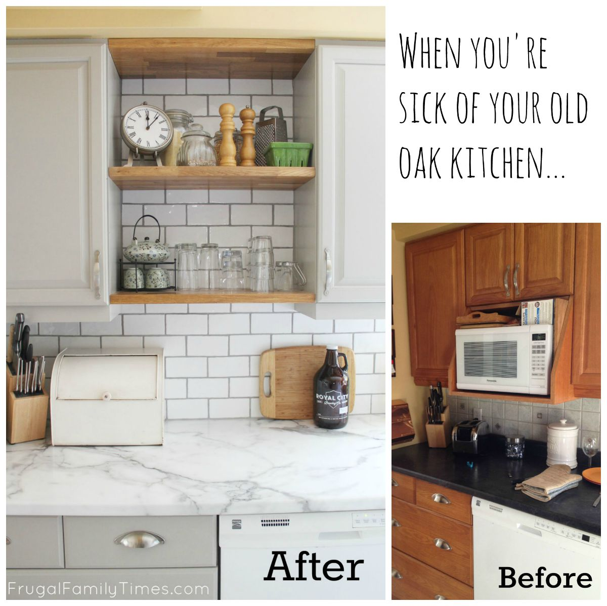 kitchen facelift before and after subway tile backsplash when you 39re sick of your old oak update