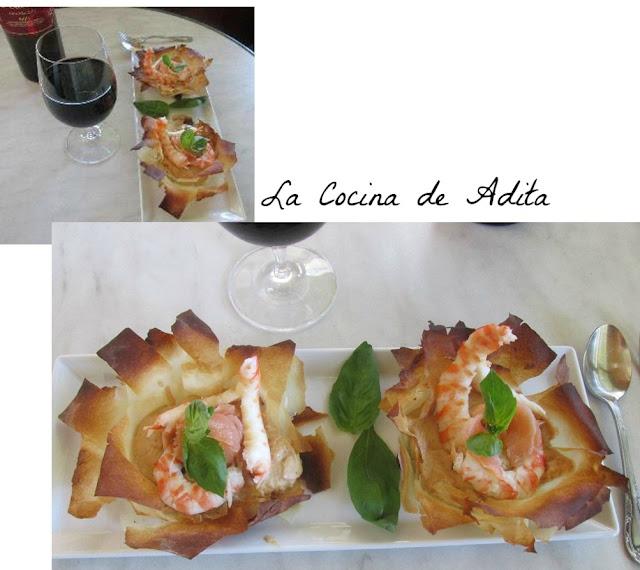 Flores de pasta filo con langostinos la cocina de adita - Flores para cocinar ...
