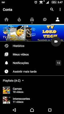 Youtube negro para Android Dark Theme tela inicial