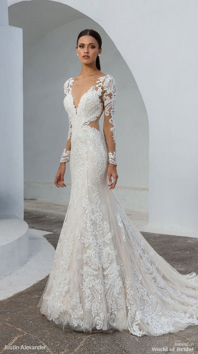 137c4ea16ab Justin Alexander Fall 2018 Lace Fit and Flare Gown with Illusion Long  Sleeves