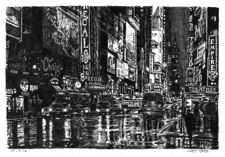 02-Times-Square-Street-Scene-Stephen-Wiltshire-Urban-Drawings-from-Memory-with-Detailed-Cityscapes-www-designstack-co