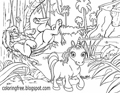 Mythical drawing cartoon jungle book background sleeping lion and unicorn coloring pages for teens