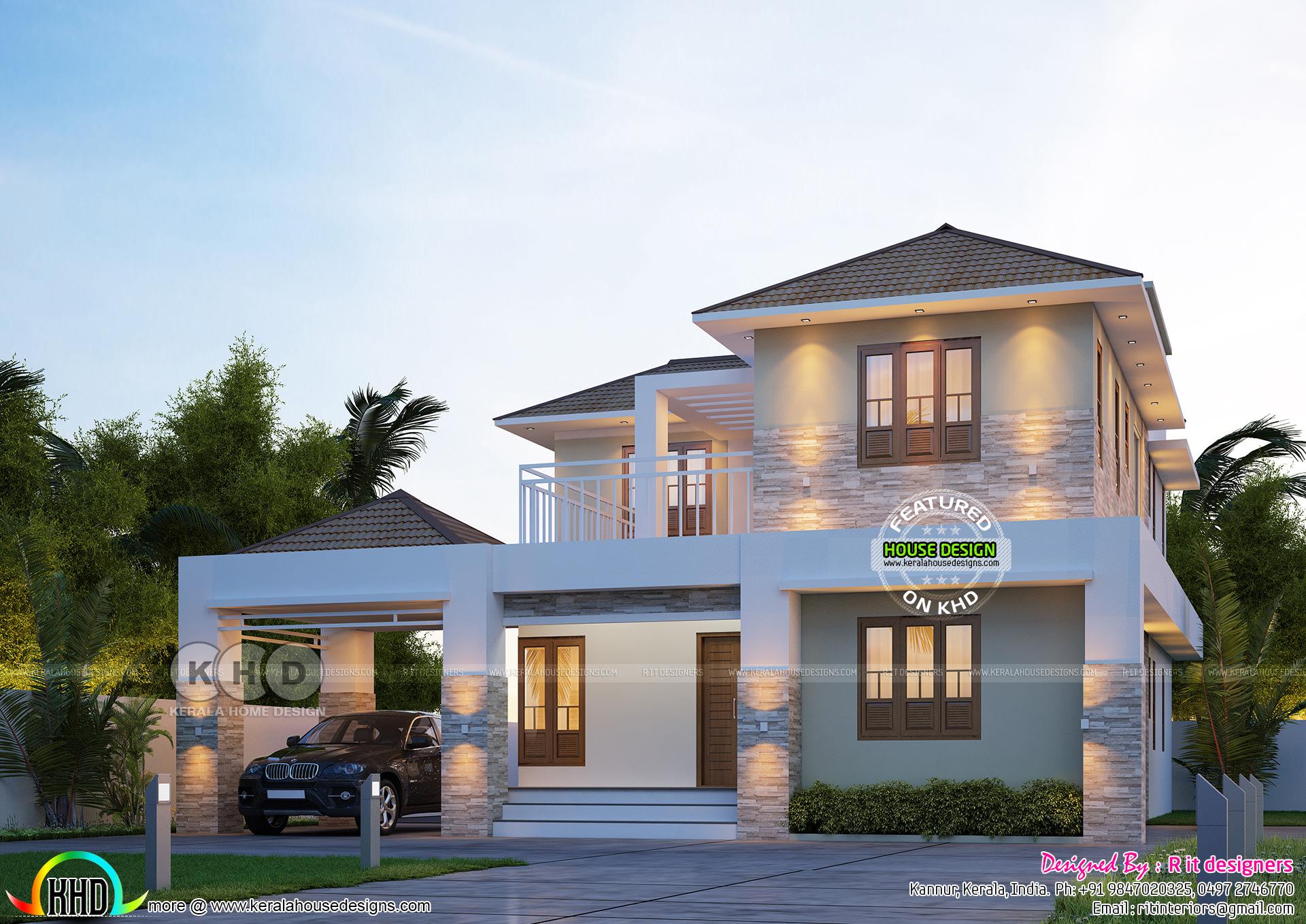 Elegant Sloping Roof 2439 Sq Ft Home Design Kerala Home