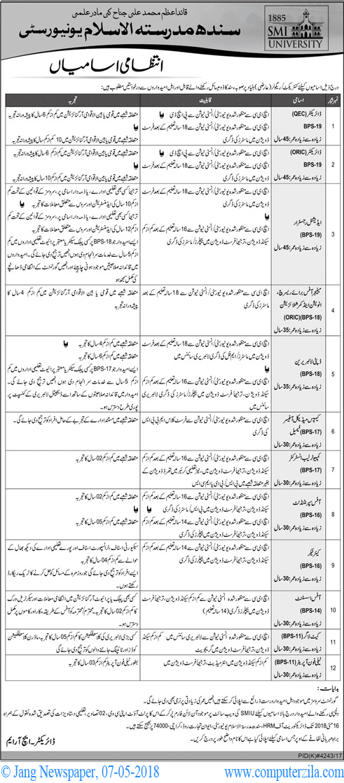 Administrative Vacancy at Sindh Madressatul Islam University