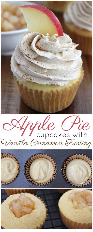 Apple Pie Cupcakes with Vanilla Cinnamon Frosting