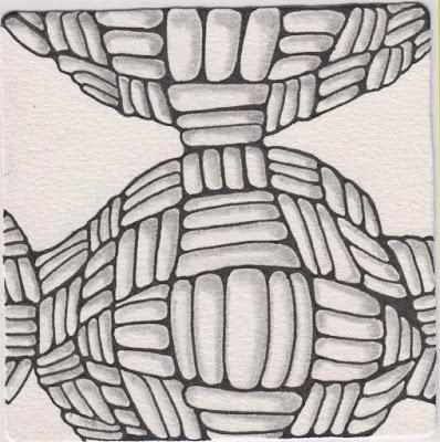 zentangle keeko 3D warped grid devi #293