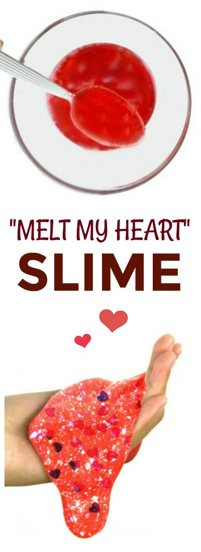 """""""YOU MELT MY HEART"""" Valentine's Slime for kids.  Makes a great school party favor/valentine! (Easy recipe!) #slime #slimerecipes #slimeforkids #valentinescrafts"""