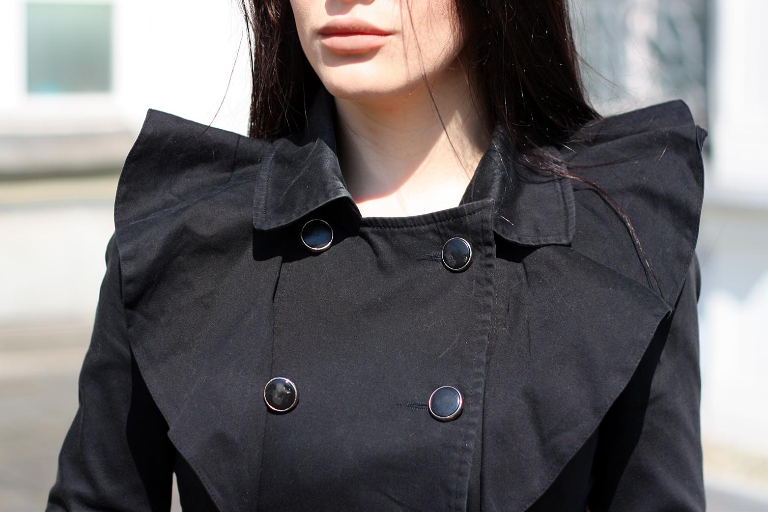 ruffle jacket, black jacket, ruffles