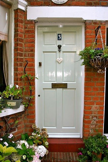 Farrow and Ball Pale Powder Front Door In Full Sun