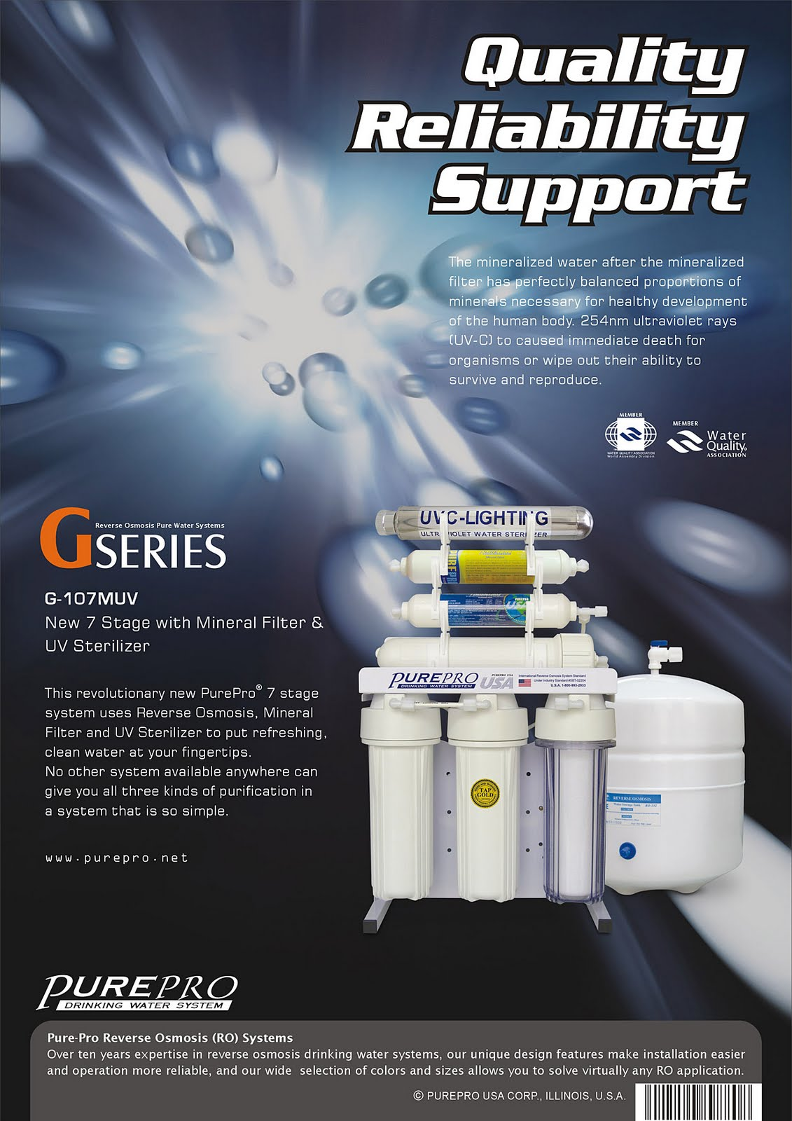 PurePro® G-107MUV Reverse Osmosis Water Filtration System