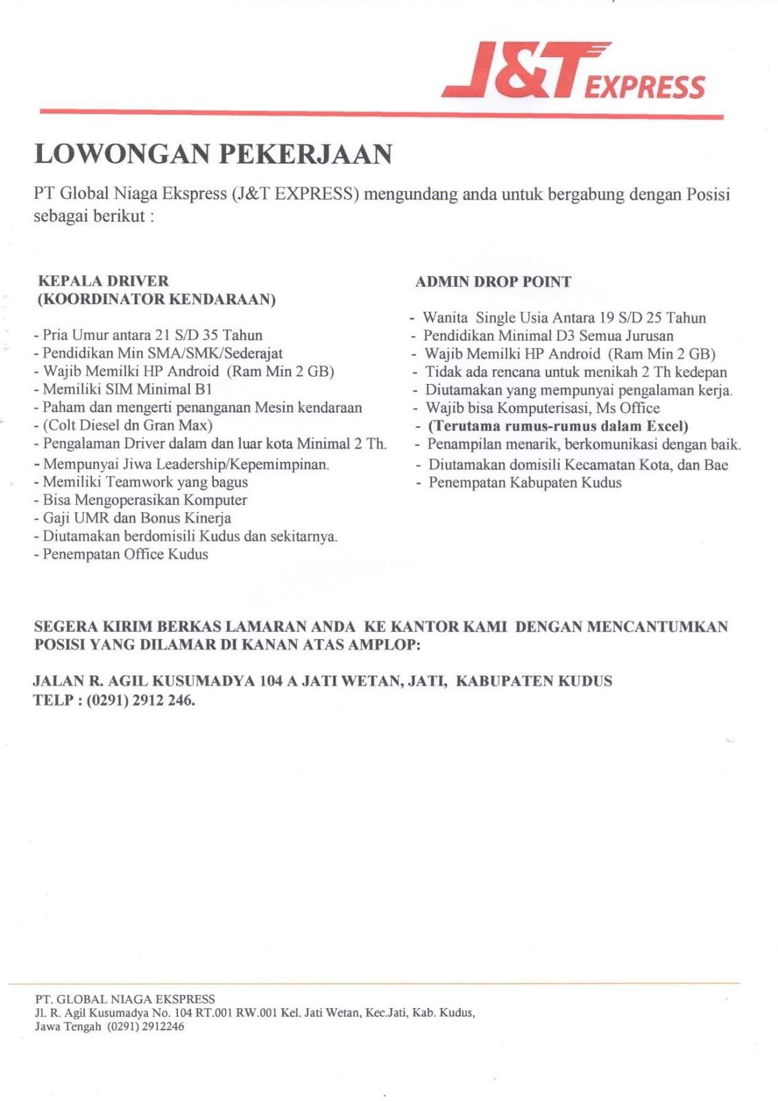 Lowongan Kerja J T Express April 2019 Kepala Driver Admin Kudus Loker Swasta