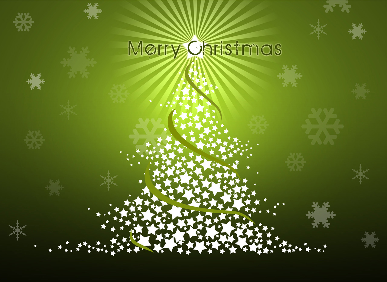 Green Background Merry Christmas Wallpaper