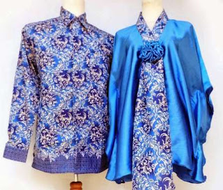 Baju batik couple pria wanita kombinasi polos