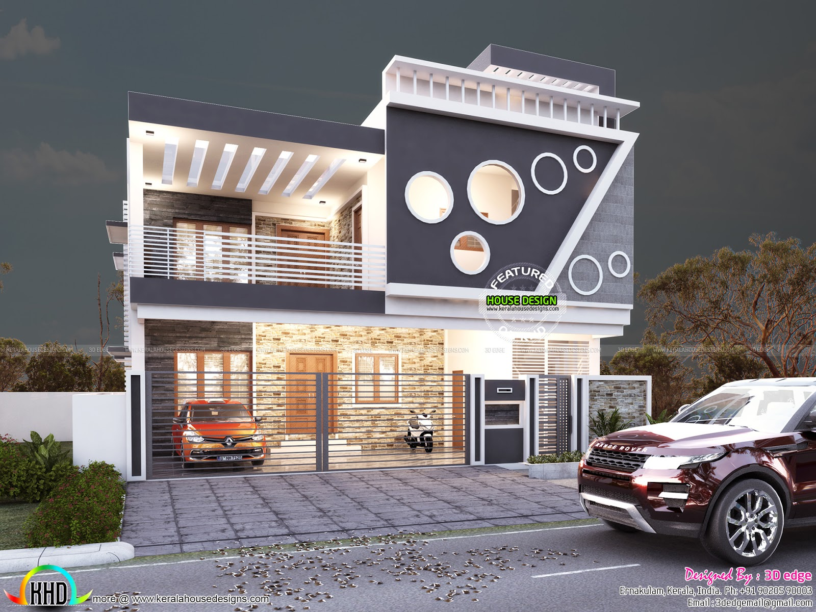 Attractive house by 3d edge design solutions kerala home for Edge house design