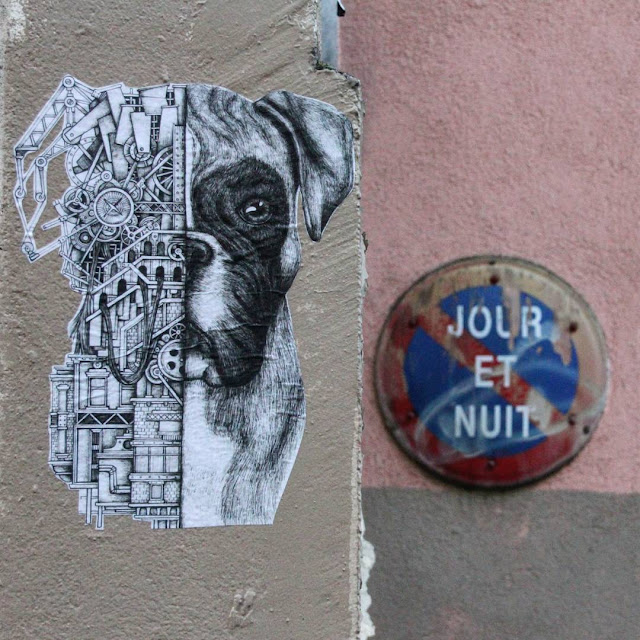 Art by Ardif, mechanimal ,symetrie, chien, boxer,  portrait, collage, streetart, art urbain, animaux, dessin, steampunk, paris
