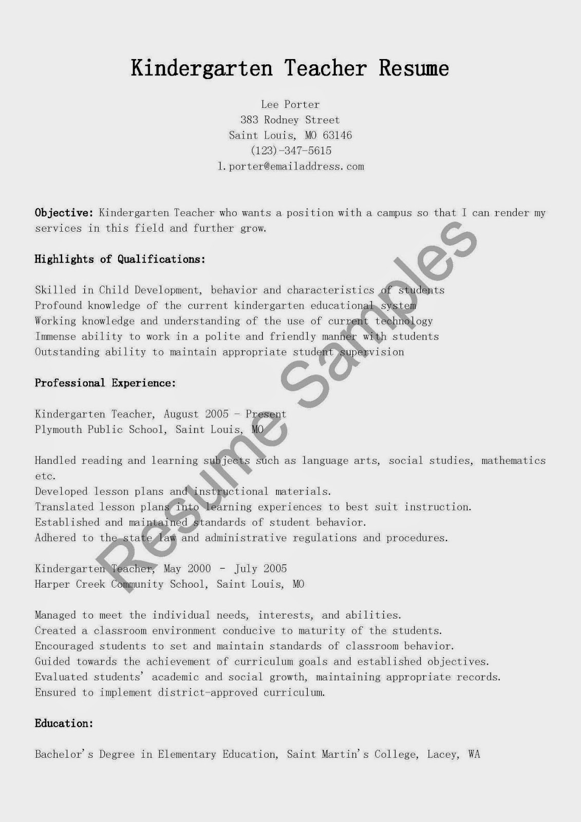 Sample Teacher Resume Templates Resume Samples Kindergarten Teacher Resume Sample