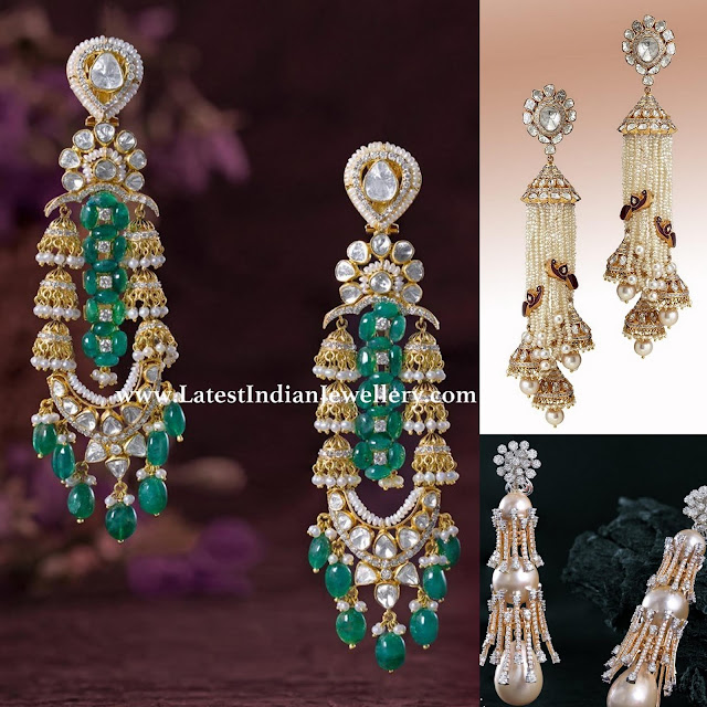 Stylish Long Cocktail Diamond Earrings