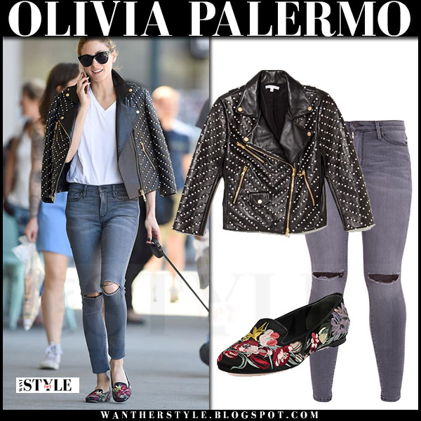 Olivia Palermo in black leather embellished rebecca minkoff jacket and grey skinny jeans what she wore streetstyle