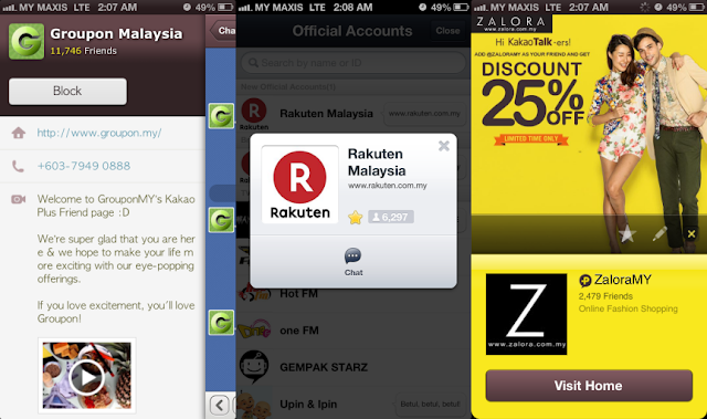 Groupon & Zalora on KakaoTalk, Rakuten on LINE
