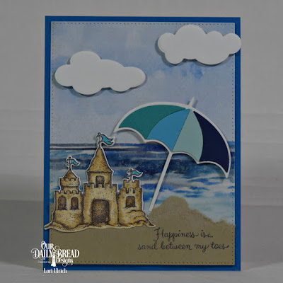 Our Daily Bread Designs Stamp Set: Sending You Sunshine, Our Daily Bread Designs Paper Collection:	By the Shore, Our Daily Bread Designs Custom Dies: Clouds and Raindrops, Pierced Rectangles, Sandcastle, Umbrellas