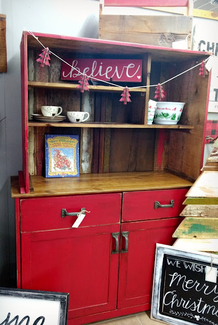 red rustic farmhouse hutch with reclaimed wood top