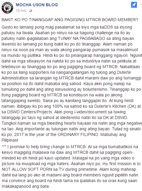 Mocha Uson Promises To Donate Salary On MTRCB To DSWD and Duterte's Kitchen