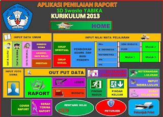 Aplikasi Raport Kurikulum 2013 (K13) SD Revisi 2016