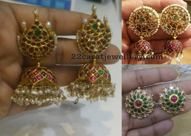 Temple Jhumkas in Rubies