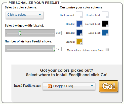 PERSONALIZE YOUR FEEDJIT