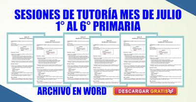 SESIONES DE TUTORÍA MES DE JULIO PRIMARIA