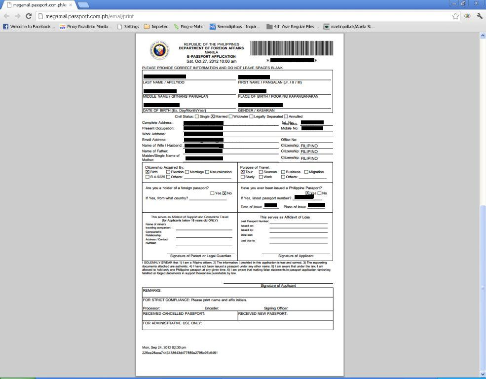 NEW APPLICATION FORM FOR DFA PPORT PHILIPPINES on