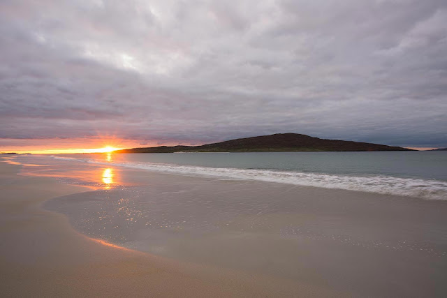 Taransay from Luskentyre Beach at sunset