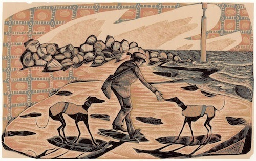 Eccles Sunrise : wood engraving by Neil Bousfield