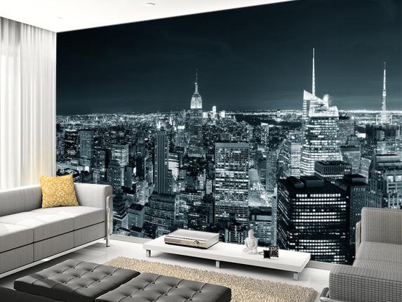 Tapet New York skyline utsikt manhattan fototapet skyskrapor natt fondtapet vardagsrum 3d