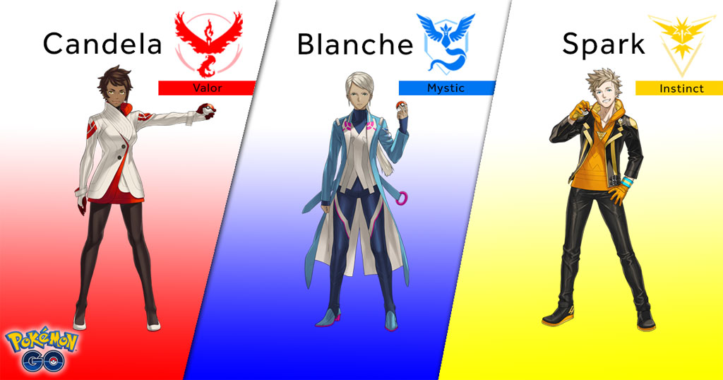 Pokemon GO Team Leaders - Candela, Blanche and Spark