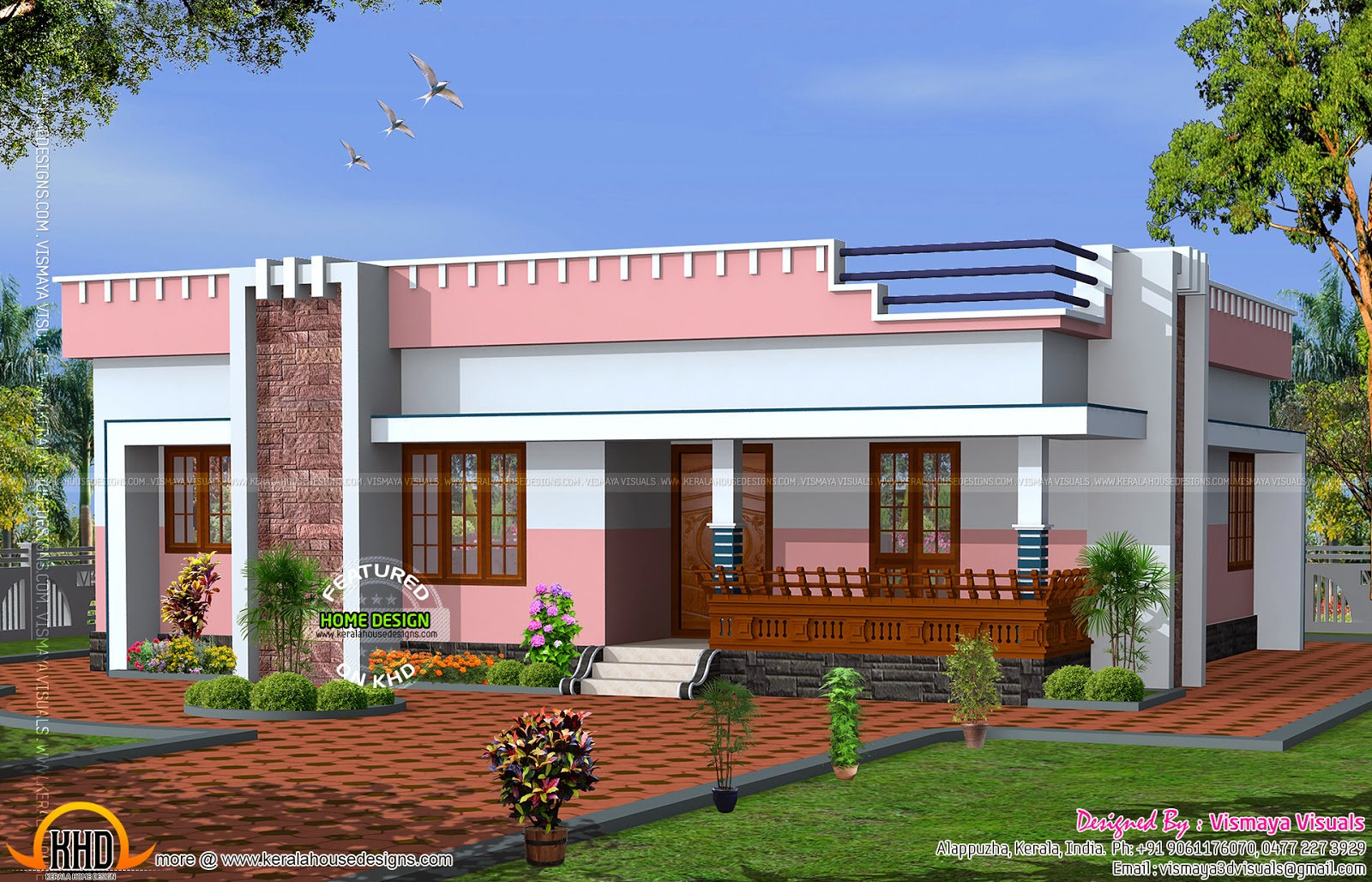 small flat roof home - Download Simple Small House Design In Kerala Gif