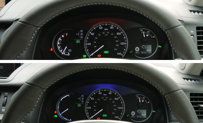 Instrument panel in normal/eco and sport mode