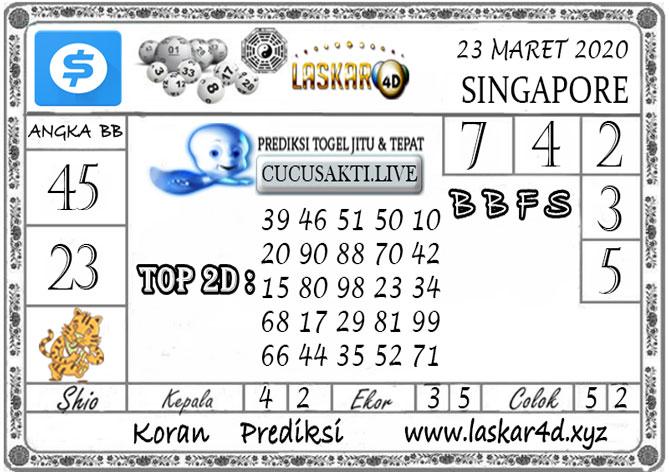 Prediksi Togel SINGAPORE LASKAR4D 23  MARET 2020