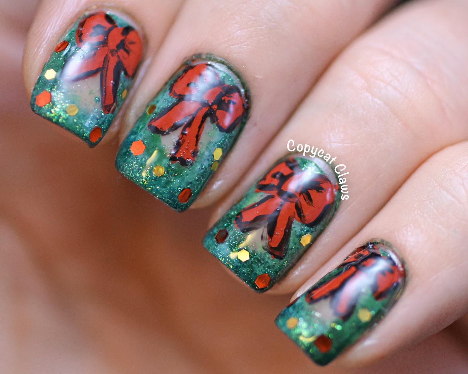 Copycat Claws Holiday Wreath Nail Art