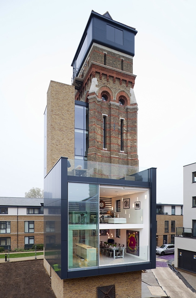 Picture of modern residence built in an old water tower in London